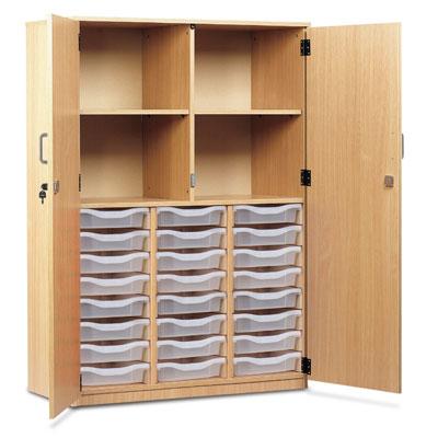 24 Shallow Tray Cupboard - Full Locking Doors - MEQ24C