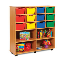 12 Cubby Tray Storage Unit with 4 Extra Deep Trays [MEQ8013]