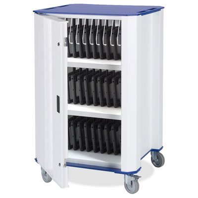 Nuwco iPad Trolley PlasTab 32 SYNC - with USB Charge and Sync - with a choice of Red, Green, Yellow or Blue trim - PLASTAB-SYNC-32