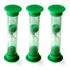 Set of 3 Mini Sand Timers - 1 Minute - Green