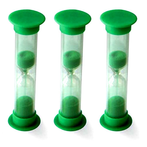 Set of 3 Mini Sand Timers - 1 Minute - Green - CD92001