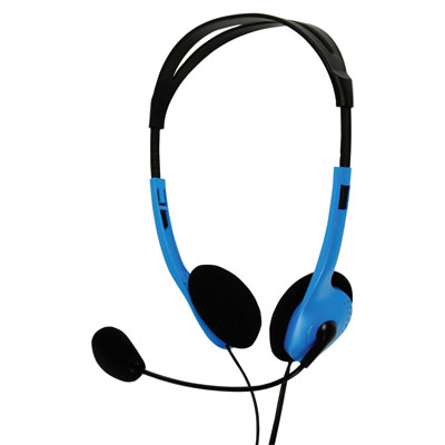 Multimedia Headphones with Flexible Microphone - in Blue (Pack of 16) - CHST100BU/16