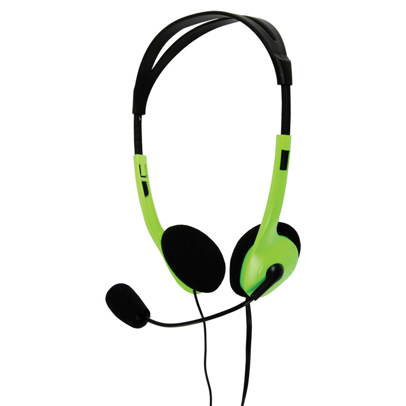 Multimedia Headphones with Flexible Microphone - in Green (Pack of 16) - BXL-HEADSET1GR/16