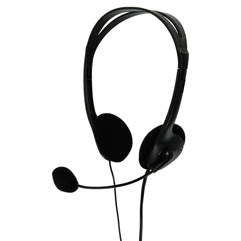 Multimedia Headphones with Flexible Microphone - in Black (Pack of 40) - CHST100BK/40