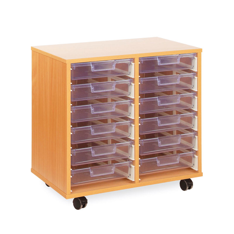 12 Shallow Tray Storage Unit - with Clear Shallow Trays - CE0124MCL