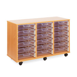 18 Shallow Tray Storage Unit - with Clear Shallow Trays