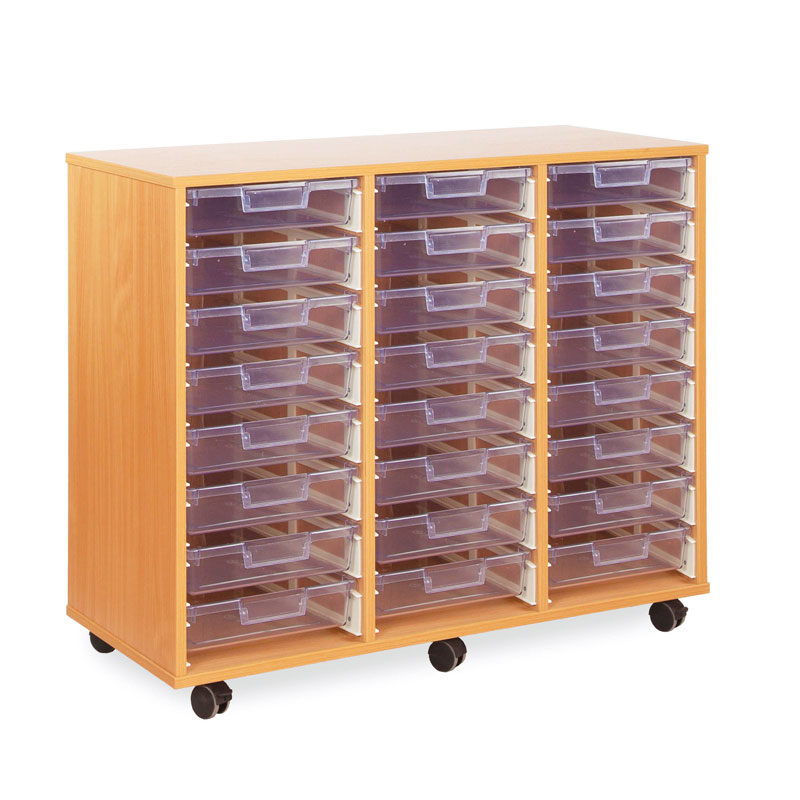 24 Shallow Tray Storage Unit - with Clear Shallow Trays - CE0093MCL