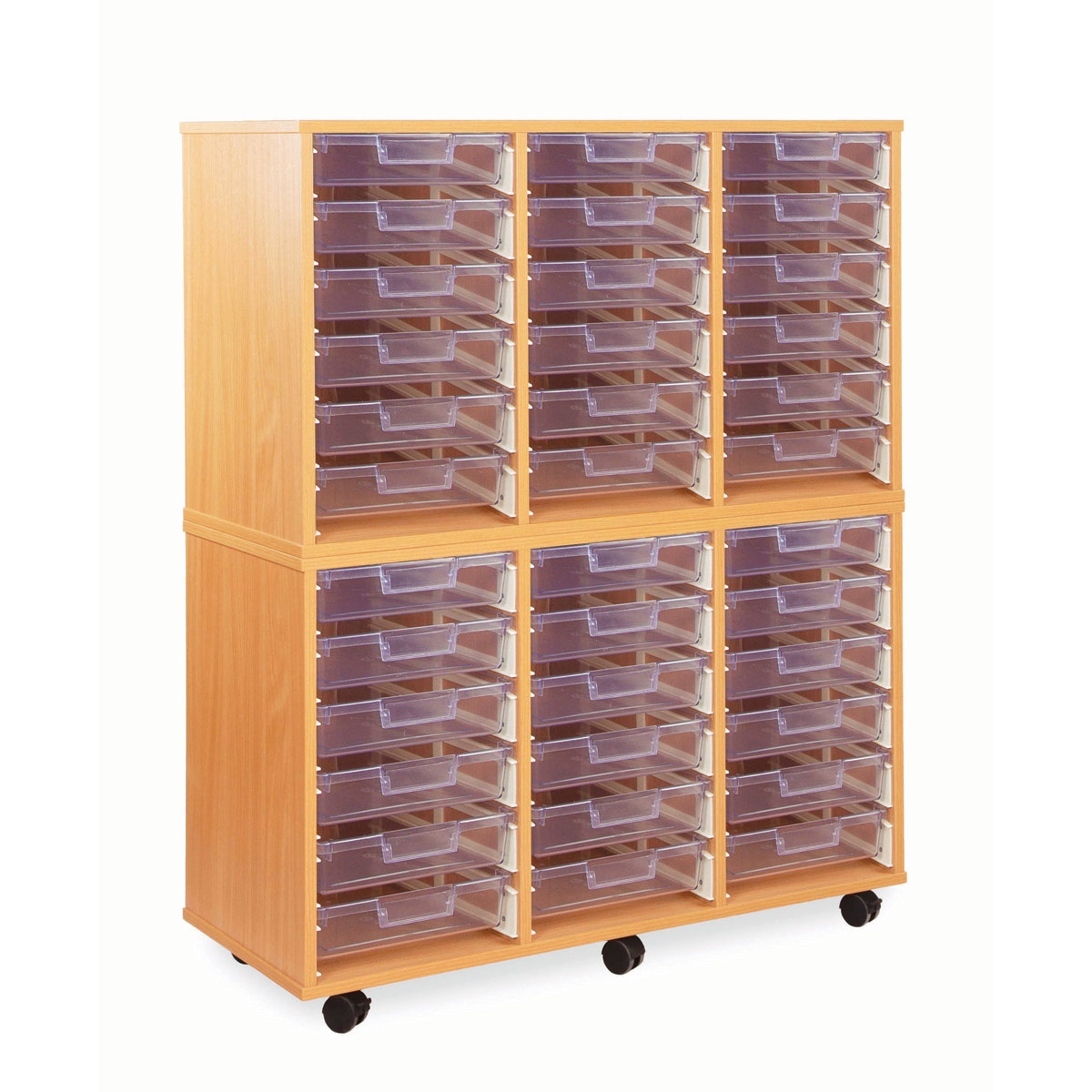 36 shallow tray storage unit with clear shallow trays for Shallow shelving unit