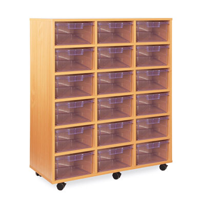 18 Deep Tray Storage Unit - with Clear Deep Trays - CE2120MCL