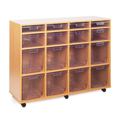 16 Variety Tray Storage Unit - with Clear Trays - CE2123MCL