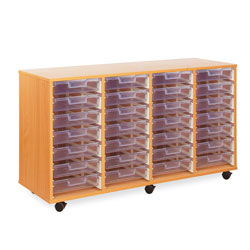 28 Shallow Tray Storage Unit - with Clear Shallow Trays