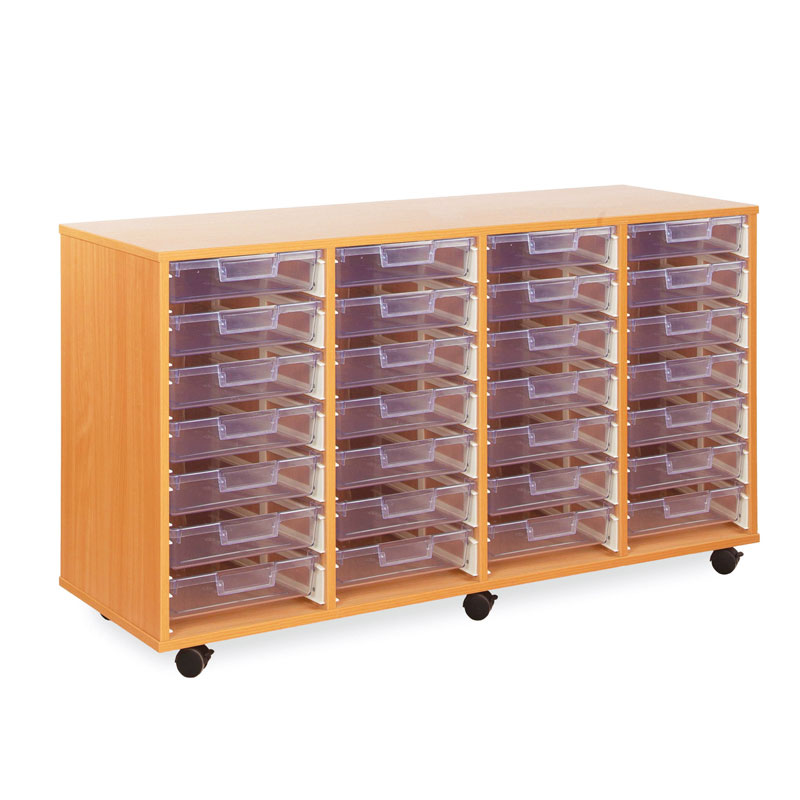 28 Shallow Tray Storage Unit - with Clear Shallow Trays - CE0097MCL