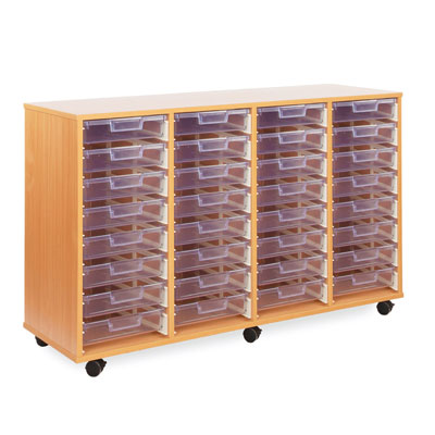 32 Shallow Tray Storage Unit - with Clear Shallow Trays - CE0098MCL