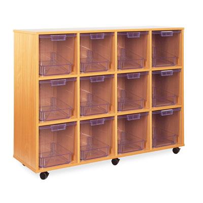 12 Jumbo Tray Storage Unit - with Clear Jumbo Trays - CE2114MCL