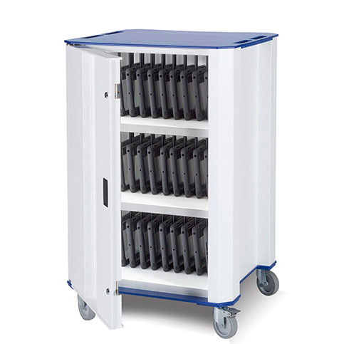 Nuwco ChromeBook Charging Trolley PlasChrome 32 - with a choice of Red, Green, Yellow or Blue trim - PLASCHROME32