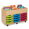 Bubblegum 6 Bay Kinderbox Book Storage Unit - with 12x Multicoloured Shallow Trays