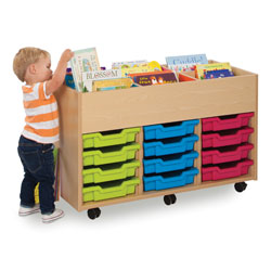 Bubblegum 6 Bay Kinderbox Book Storage Unit - with 12x Multicoloured Shallow Trays [MEQ9012]