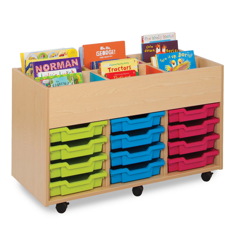 Bubblegum 6 Bay Kinderbox Book Storage Unit - with 12x Multicoloured Shallow Trays - MEQ9012