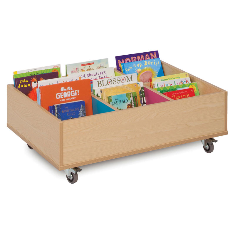 Bubblegum 6 Bay Kinderbox Book Storage Unit - with Wheels - MEQ9013