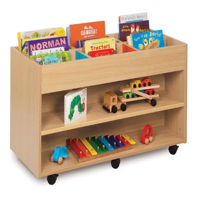 Bubblegum 6 Bay Kinderbox Book Storage Unit - with 1 Fixed Shelf on Each Side - MEQ9019
