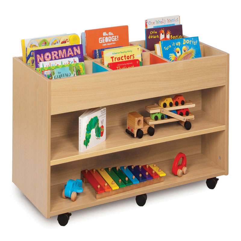 Bubblegum 6 Bay Kinderbox Book Storage Unit - with 1 Fixed Shelf on Each Side - MEQ9019