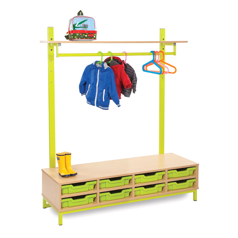 Bubblegum Cloakroom Bundle 1 - Shelf, Hanging Rail & 8 Shallow Trays - CLK-B1