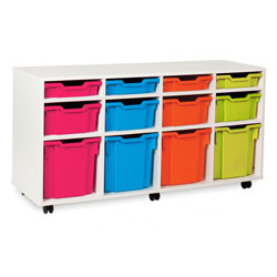 White Tray Variety Storage Unit - with 12 Gratnells Trays