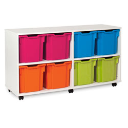 White Tray Jumbo Storage Unit - with 8 Gratnells Trays [MEQ1021WHITE]