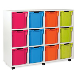 White Tray Jumbo Storage Unit - with 12 Gratnells Trays