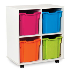White Tray Jumbo Storage Unit - with 4 Gratnells Trays