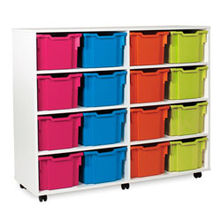 White 3/4 Tray Storage Unit - with 16 Gratnells Trays