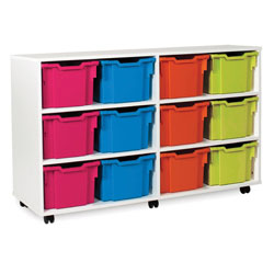 White 3/4 Tray Storage Unit - with 12 Gratnells Trays