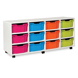 White Deep Tray Storage Unit - with 12 Gratnells Trays