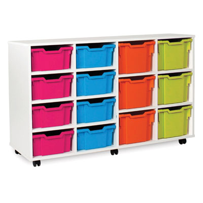 White Variety Tray Storage Unit - with 14 Gratnells Trays - MEQ5030WHITE
