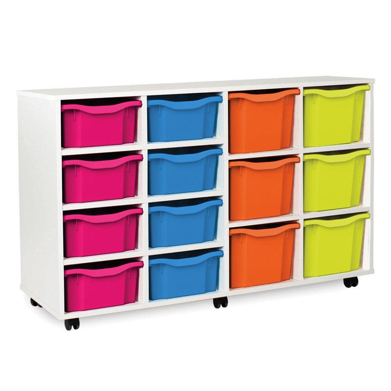 White Variety Tray Storage Unit - with 14 Gratnells Trays - MEQ5030WHITE