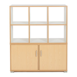 Bubblegum 6 Cube & 3 Bay Low Level Cupboard Room Divider