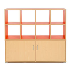 Bubblegum 8 Cube & 4 Bay Low Level Cupboard Room Divider