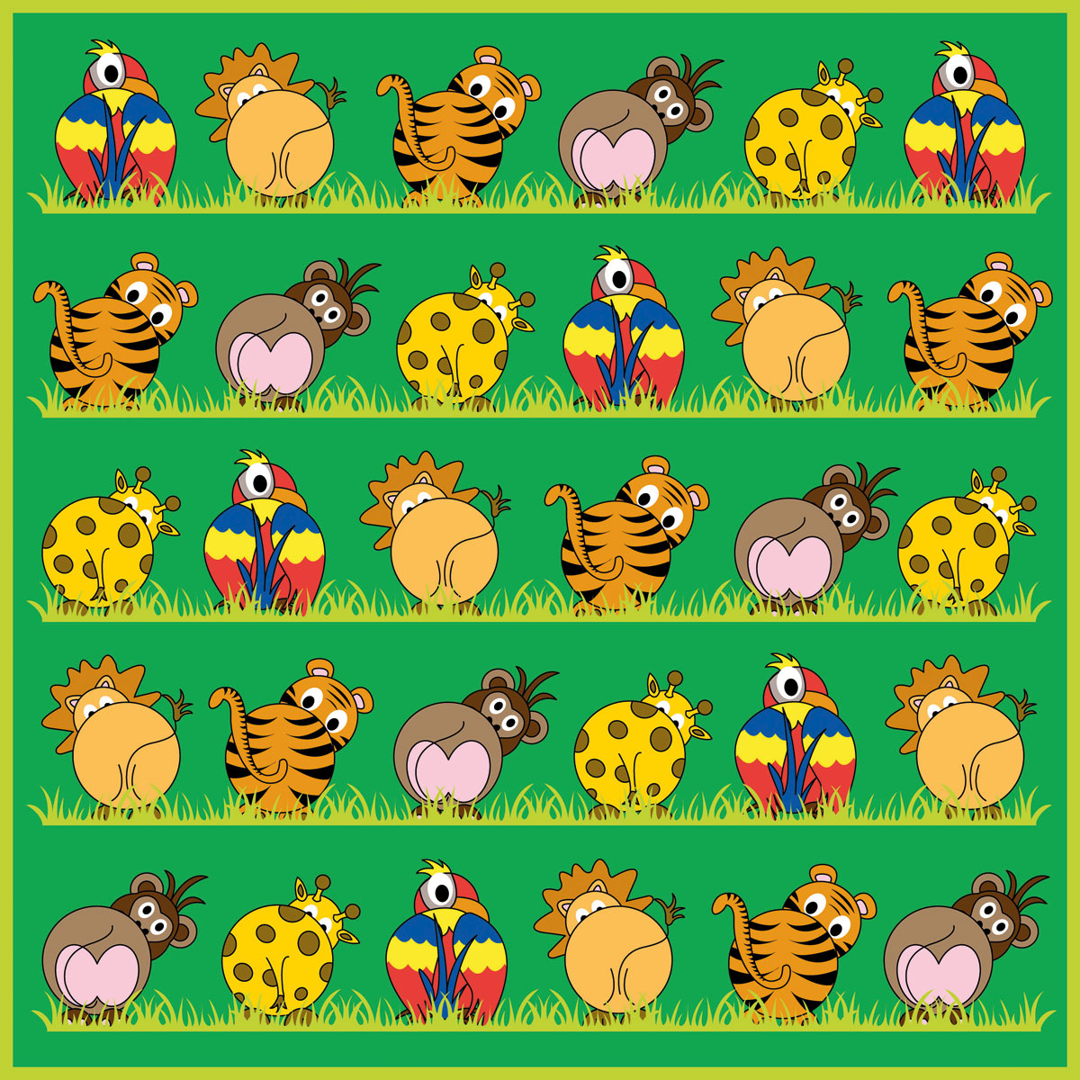 Town Amp Country Zoo Animals Placement Carpet 3x3m Mat081