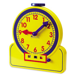 Primary Time Geared Teacher Clock (12 Hour AM/PM) - Analogue & Digital Time Teacher - by Learning Resources [LER2996]