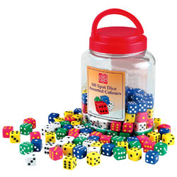 Coloured Spot Dice Tub - Set of 100