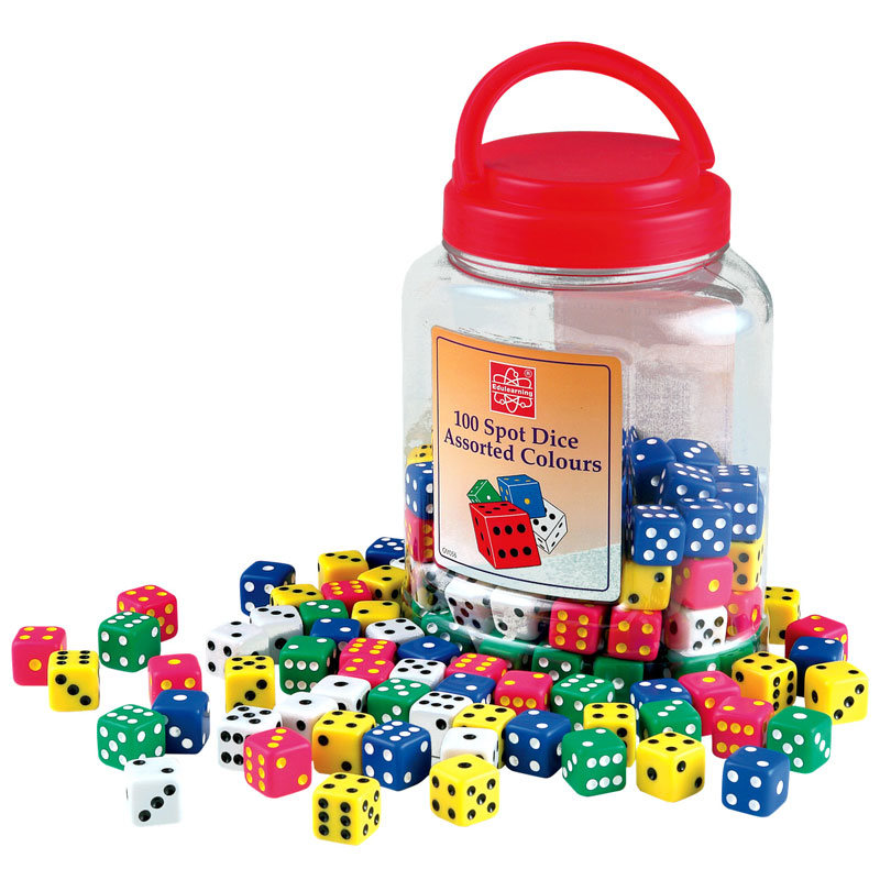 Coloured Spot Dice Tub - Set of 100 - CD52086