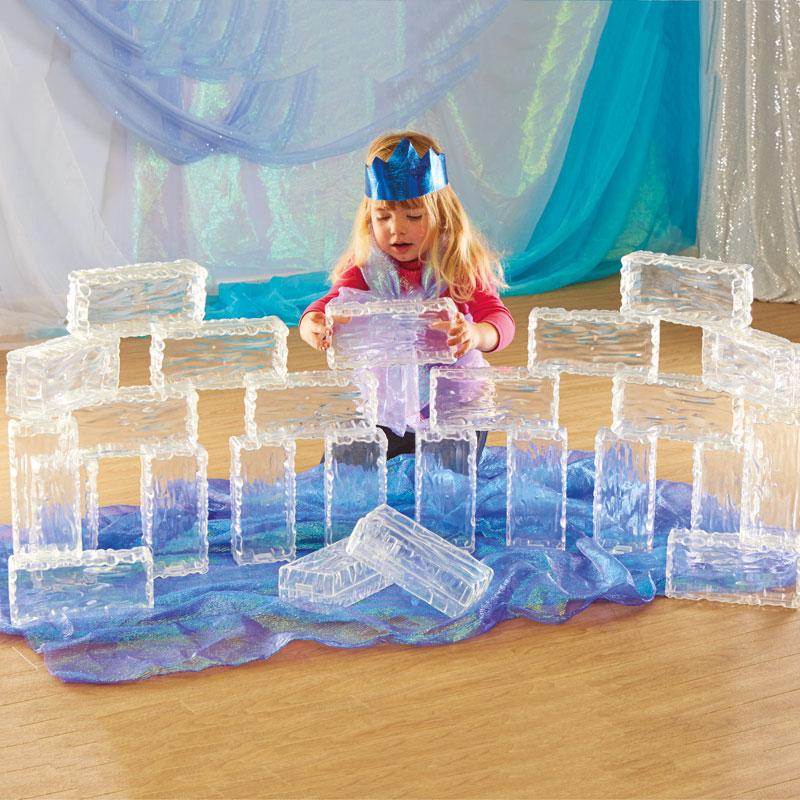 TTS Glacier Effect Clear Plastic Bricks - Pack of 25 - EY06048
