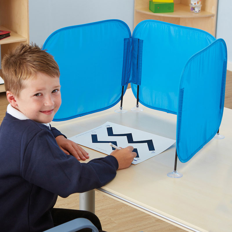 TTS Pop Up Concentration Desk Barrier - in Blue - SD12324
