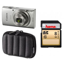 Canon Ixus 175 Camera Bundle (inc 8GB SD Card & Case) - 8x Zoom / 20MP - in Silver [IXUS-175-BUNDLE]