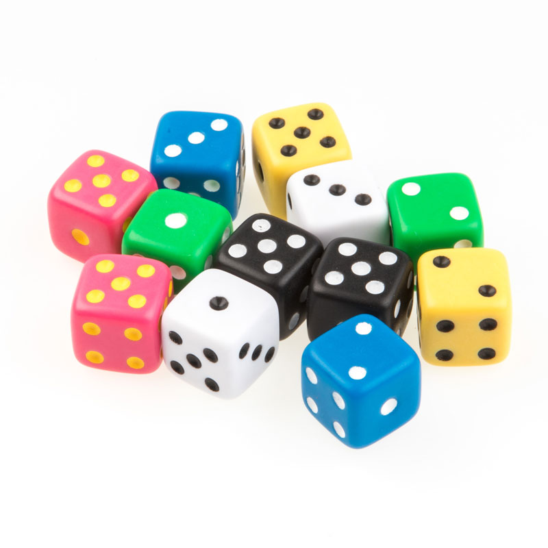 Invicta Traditional Spot Dice - Assorted Colours (Set of 12) - IP052359