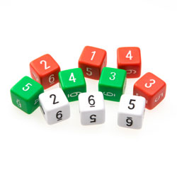 Invicta Number Dice - Assorted Colours (Set of 10)