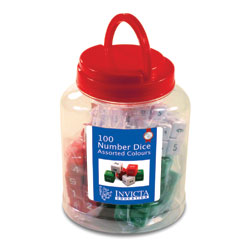 Invicta Number Dice with Tub - Assorted Colours (Set of 100)