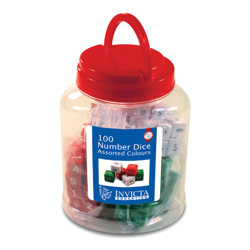 Invicta Number Dice with Tub - Assorted Colours (Set of 100) - IP052659