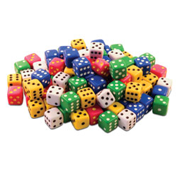 Invicta Traditional Spot Dice Tub - Assorted Colours (Set of 100) [IP052459]