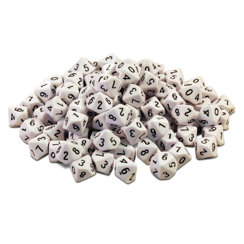 Invicta Ten Sided Number Dice 0-9 Tub - Set of 100 - IP052859